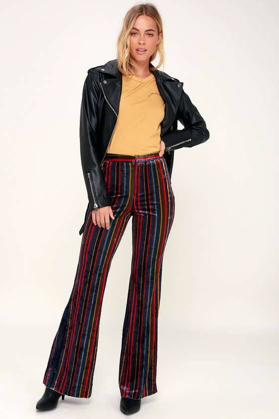 Vintage High Waisted Trousers, Sailor Pants, Jeans Shes a Rainbow Multi Stripe Velvet Bell Bottom Pants - Lulus $59.00 AT vintagedancer.com