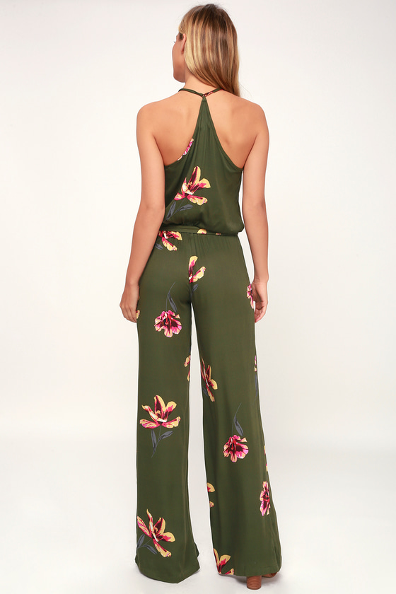 2b10ee697e5a On the Road Florence - Green Floral Print Jumpsuit - Jumpsuit