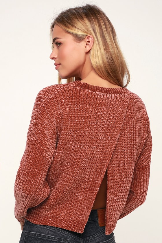 Blank NYC Rose Quartz Sweater - Chenille Sweater - Backless Top d744e93d7