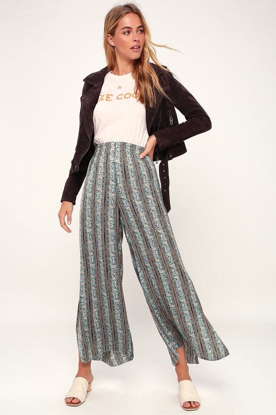 0512af611f80 Free People Take Your Tie Off - Green Pants - Wide-Leg Pants