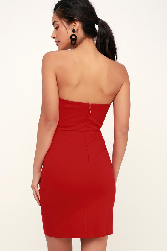 971d3efaf6b Little Red Dress - Red Bodycon Dress - Strapless Mini Dress