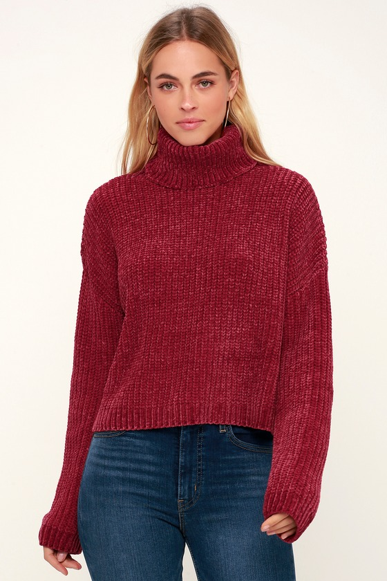 bff1dbe4211 Blank NYC - Red Chenille Sweater - Chenille Turtleneck Sweater