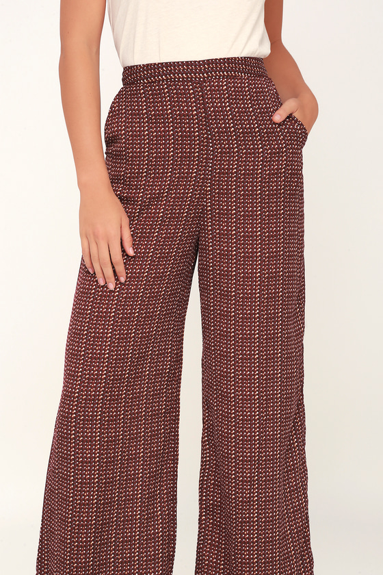 Vintage High Waisted Trousers, Sailor Pants, Jeans Pattern It Up Wine Red Print Wide-Leg Pants - Lulus $47.00 AT vintagedancer.com