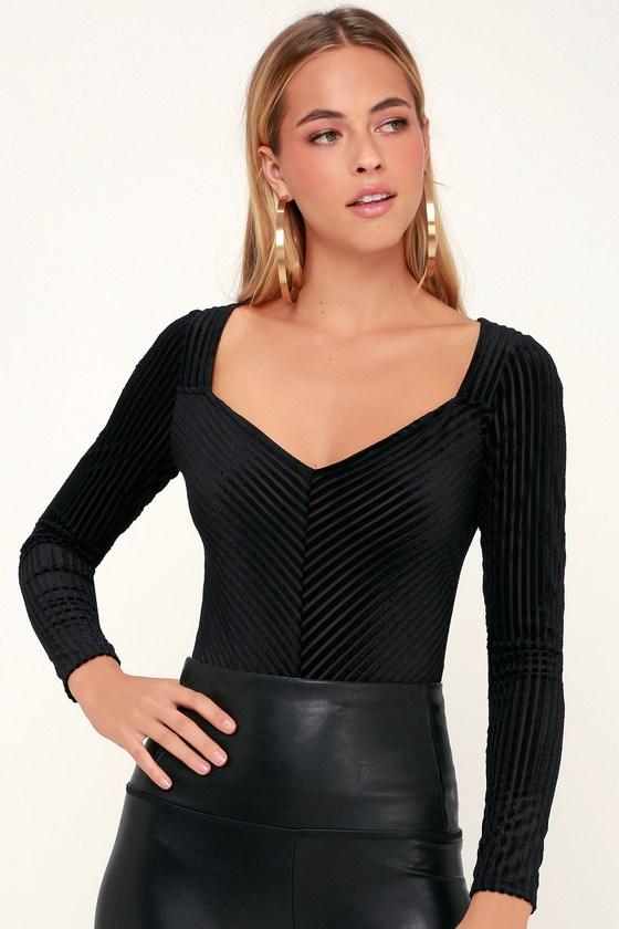Sexy Black Bodysuit - Velvet Bodysuit - Long Sleeve Bodysuit 685b942fd