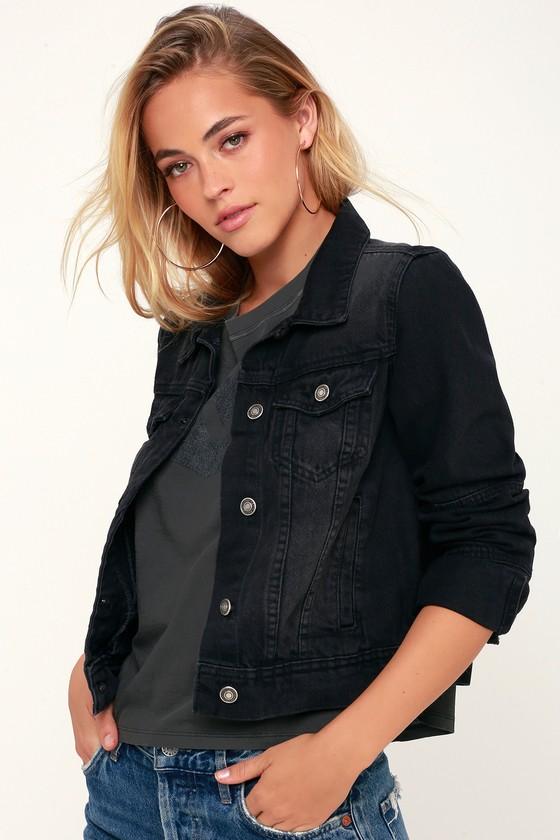e1206981bf8dc The Free People Rumors - Washed Black Denim Jacket - Jean Jacket