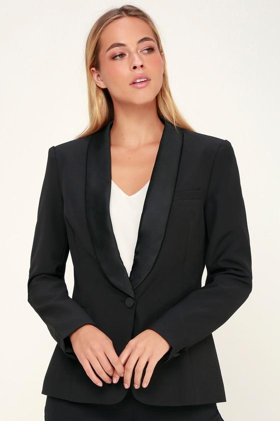 Vintage Evening Dresses and Formal Evening Gowns Leanne Black Tuxedo Blazer - Lulus $78.00 AT vintagedancer.com