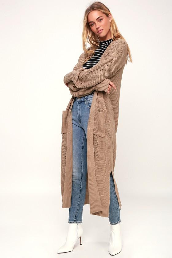 badc6a123c3 Cute Long Cardigan - Maxi Cardigan - Beige Cardigan