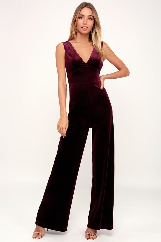 dd2d698ebf16 Chic Burgundy Jumpsuit - Velvet Jumpsuit - V-Neck Jumpsuit