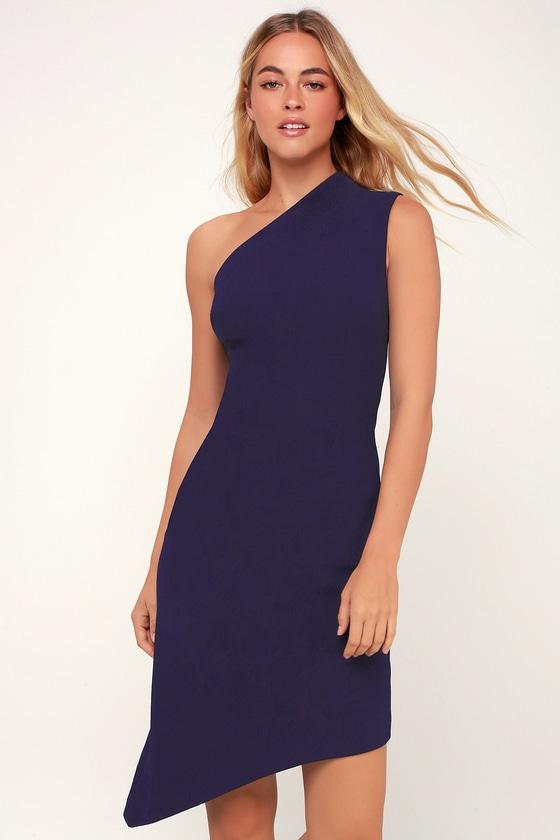 f54e5259e0 Finders Keepers Goodbye - Navy Blue One-Shoulder Dress - Dress