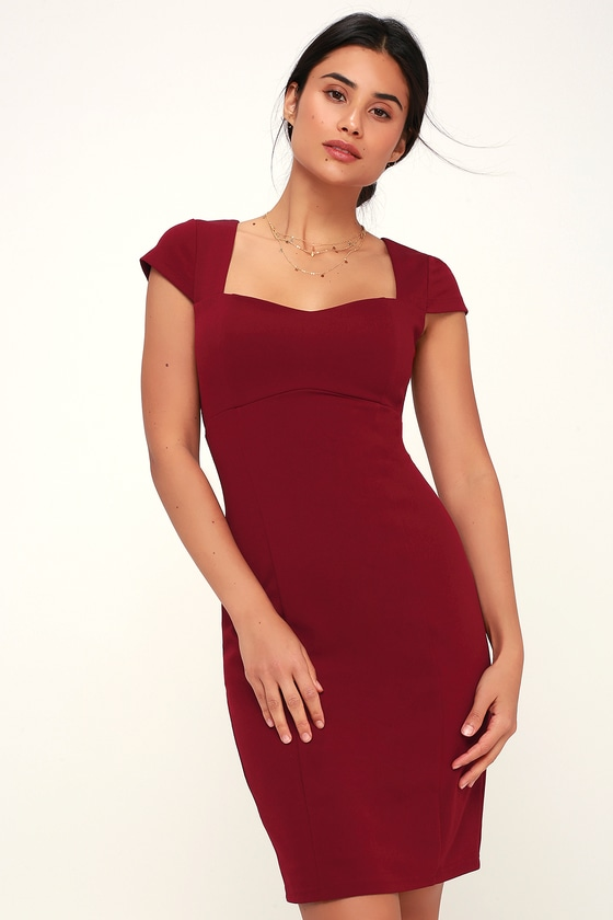 77ecc82f4d Chic Burgundy Dress - Burgundy Bodycon Dress - Bodycon Midi Dress