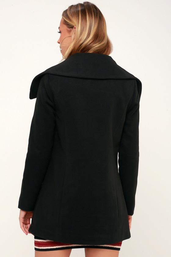 472afa720d7a8 Jack by BB Dakota Friday Feeling - Black Felt Coat - Cozy Coat