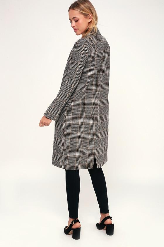 686f42d59 ASTR the Label Kensington - Black Plaid Coat - Long Coat