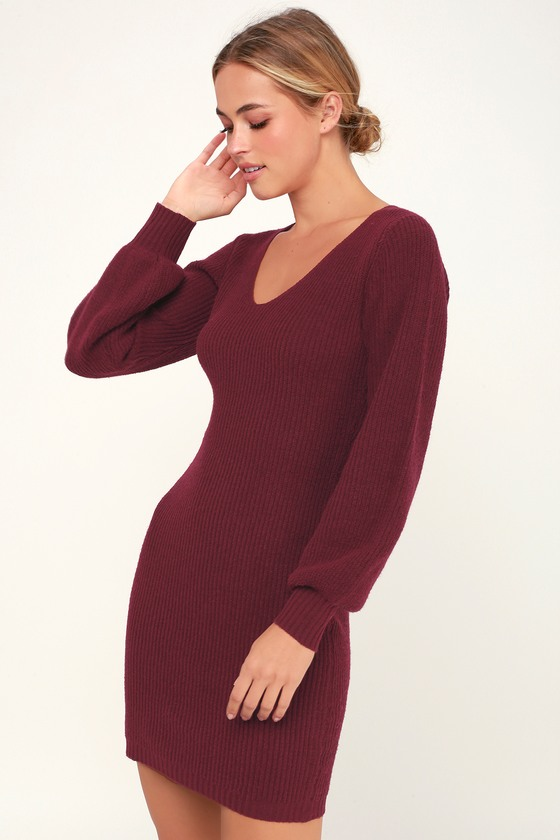 1386906ae82 Knit Burgundy Dress - Sweater Dress - Statement Sleeve Dress