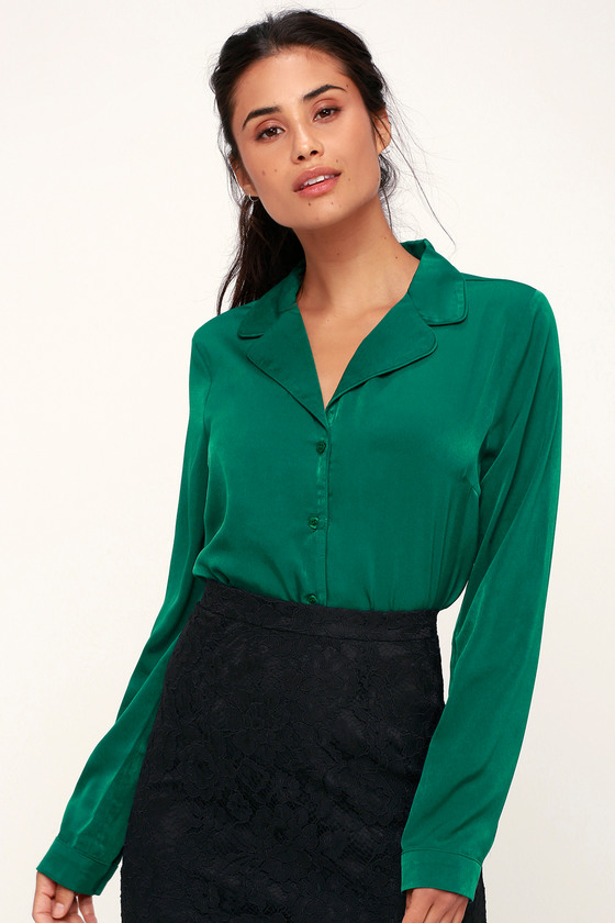 Women's 70s Shirts, Blouses, Hippie Tops In the Biz Emerald Green Satin Long Sleeve Button-Up Top - Lulus $48.00 AT vintagedancer.com
