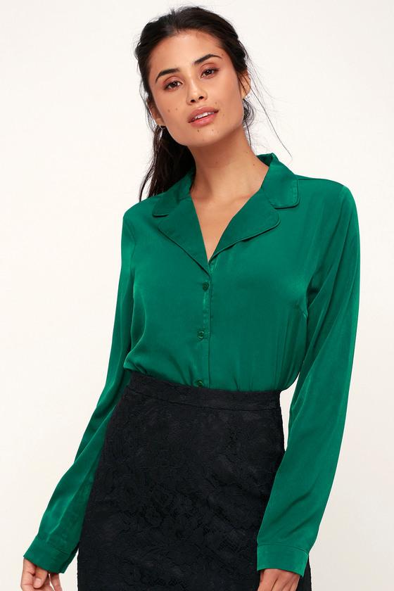 Vintage & Retro Shirts, Halter Tops, Blouses In the Biz Emerald Green Satin Long Sleeve Button-Up Top - Lulus $48.00 AT vintagedancer.com