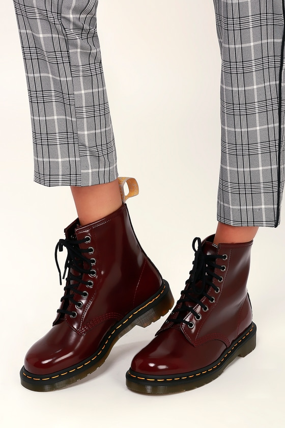 18f5b65aa7b1 Dr. Martens 1460 Pascal - Cherry Red Boots - Vegan Leather Boots