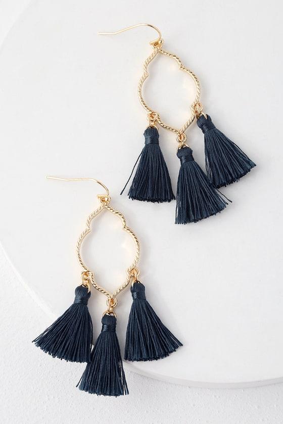 487c375f9ce1f4 Chic Navy Blue Tassel Earrings - Gold Earrings - Boho Earrings