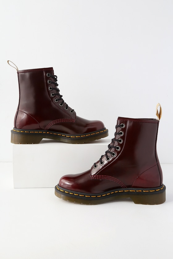 1460 Pascal Cherry Red Vegan Leather 8-Eye Boots