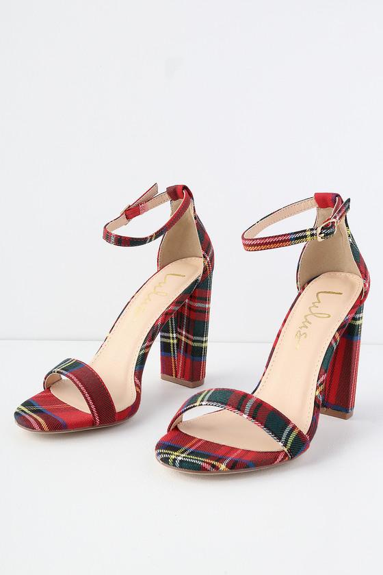 dde3ab5b781 Taylor Red Tartan Ankle Strap Heels