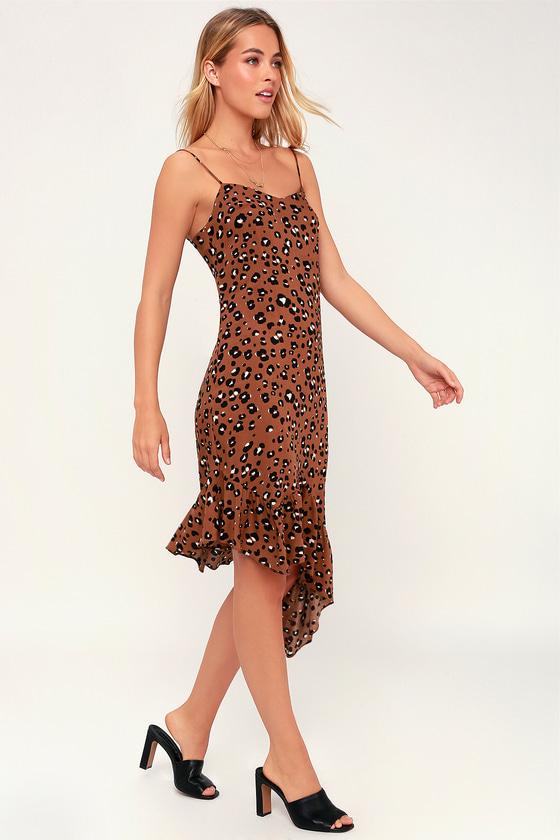 3d2946321c6 LUSH - Brown Leopard Print Dress - Asymmetrical Midi Dress
