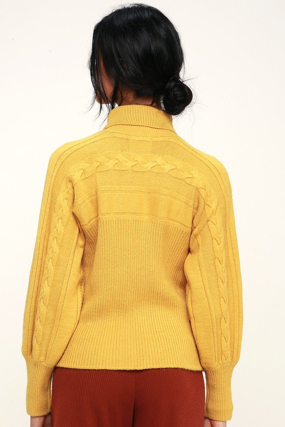 Joa Archer Mustard Yellow Sweater Cable Knit Sweater