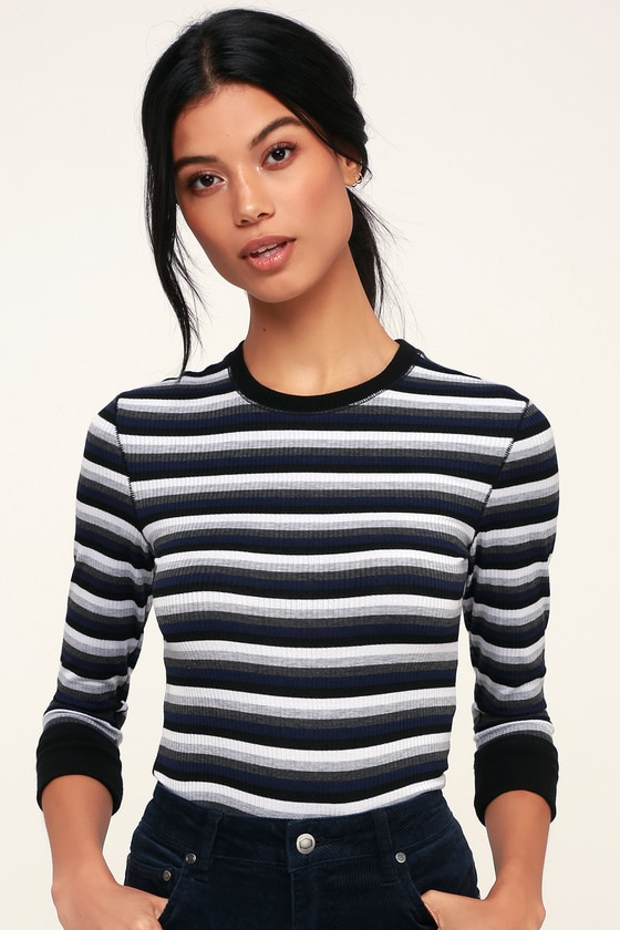 1429ab4d4c591 Free People Good on You - Grey Multi Striped Tee - Ribbed Tee