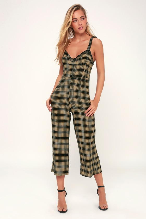 9a39327e20 Faithfull the Brand Cancun - Plaid Jumpsuit - Green Jumpsuit