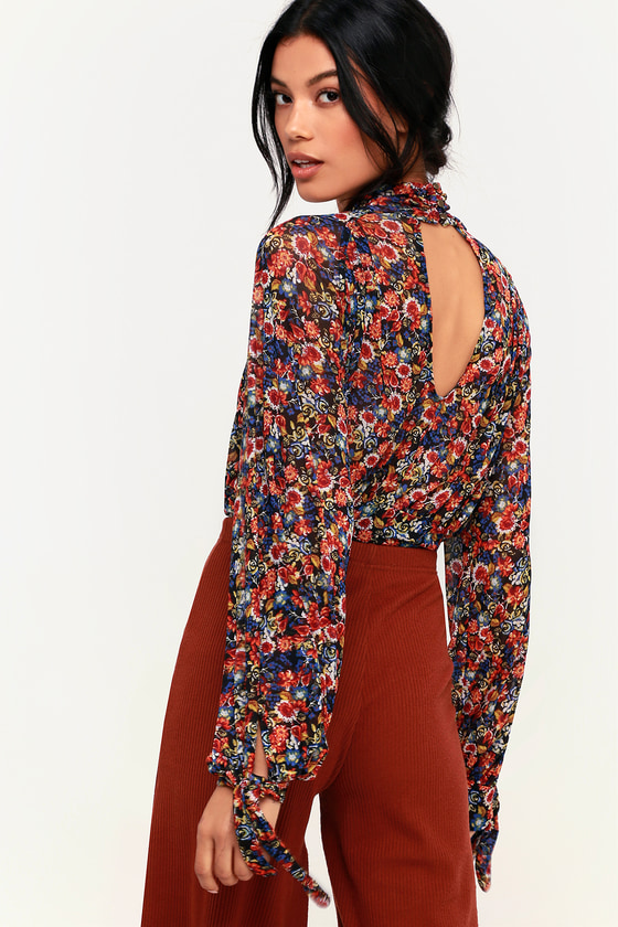6b9ad8e7f7e Free People All Dolled Up - Black Floral Top - Mesh Crop Top