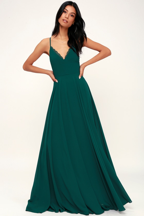 Lovely Forest Green Dress - Maxi Dress - Lace-Up Dress - Gown c63e1a6e3
