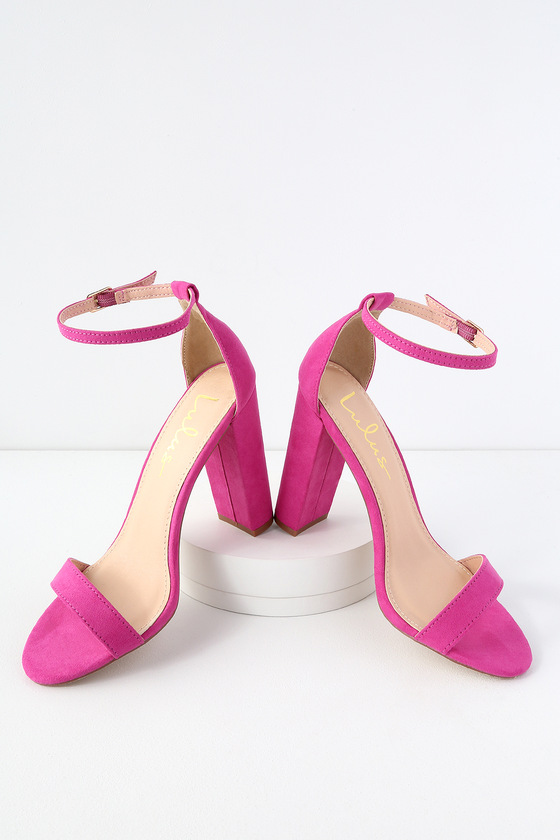d397f4a195 Sexy Fuchsia Suede Heels - Ankle Strap Heels - Pink Heels