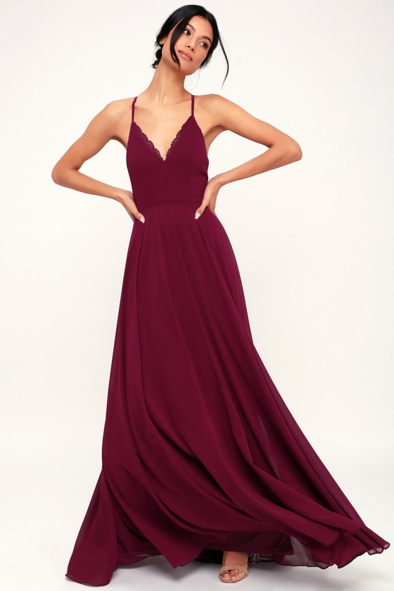 f15d94a5ae9 Lovely Burgundy Dress - Maxi Dress - Lace-Up Dress - Gown