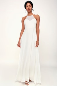 night of romance white sleeveless maxi dress