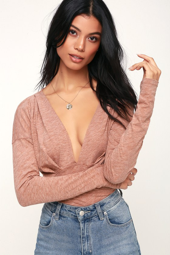 375a80d13a8 Free People Maven Top - Long Sleeve Top - Plunging Top