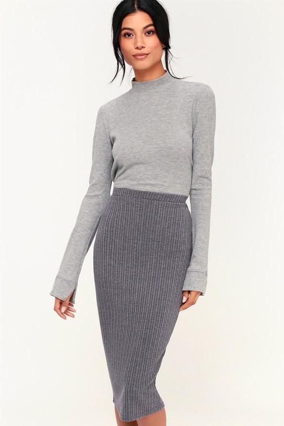 581cbdbfc O'Neill Candi Skirt - Grey Skirt - Ribbed Knit Skirt - Midi Skirt