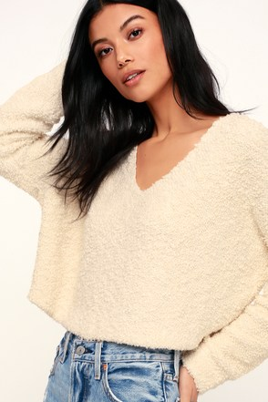 Free People Popcorn Pullover - Cream Sweater Top - Knit Top 192366ec2