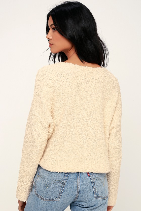 Free People Popcorn Pullover - Cream Sweater Top - Knit Top b08b57646