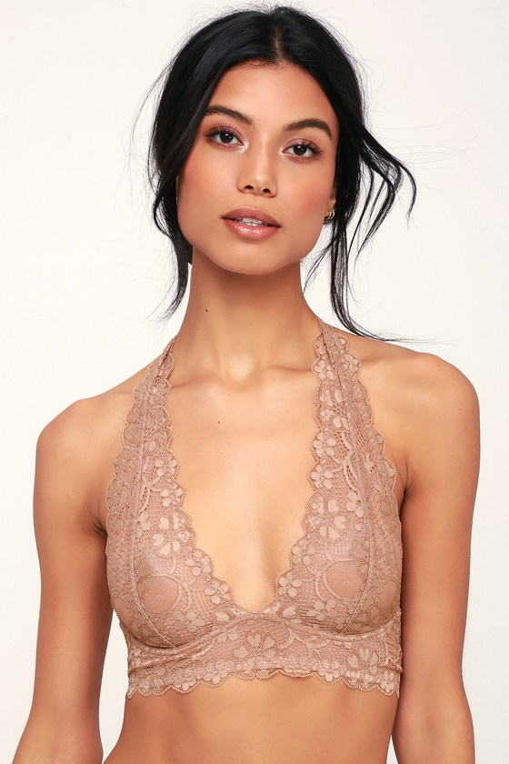 71ce9bd584e Free People Galloon - Taupe Lace Bralette - Halter Bralette