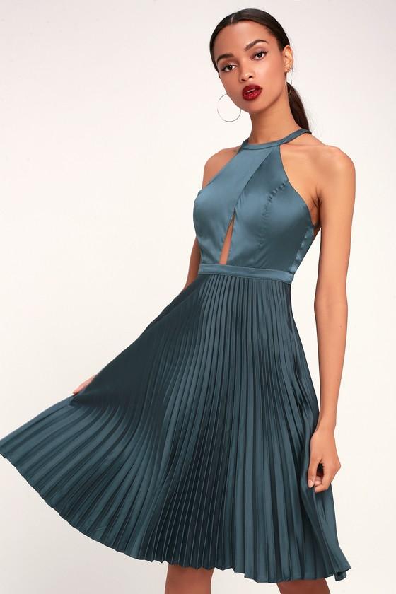 998cee9bd8bb Ryse Pia - Blue Grey Dress - Midi Dress - Halter Dress