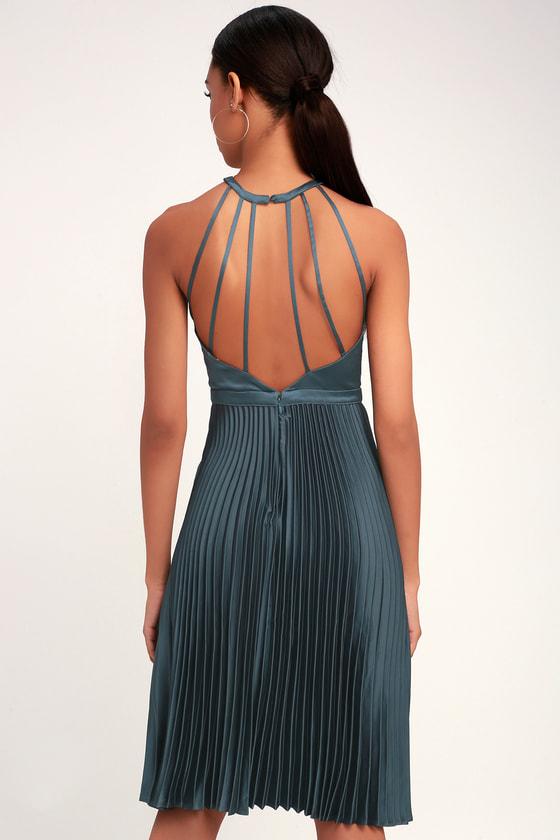 9a86505376a Ryse Pia - Blue Grey Dress - Midi Dress - Halter Dress