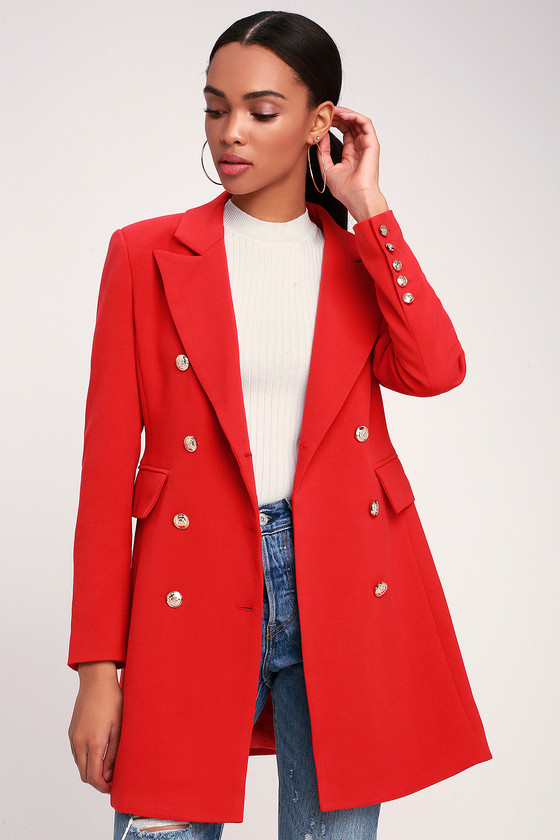 13f2a31b5ee Chic Red Coat - Double-Breasted Coat - Military Coat
