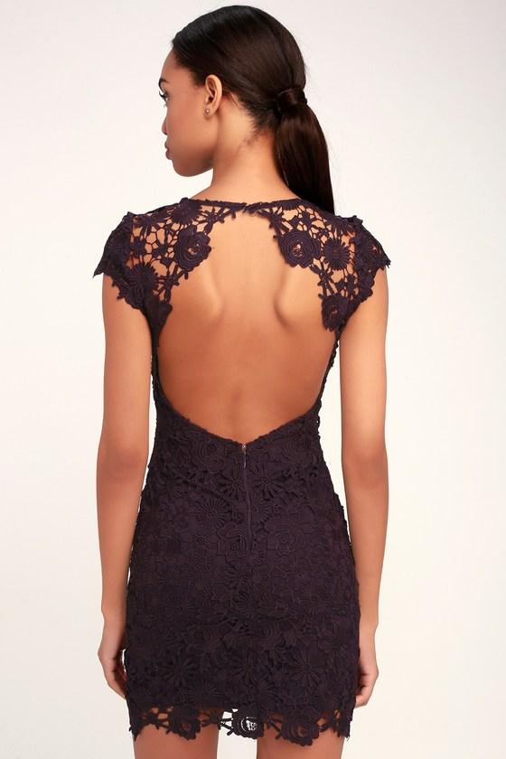 51e28371d07 Chic Dark Purple Lace Dress - Lace Dress - Lace Backless Dress