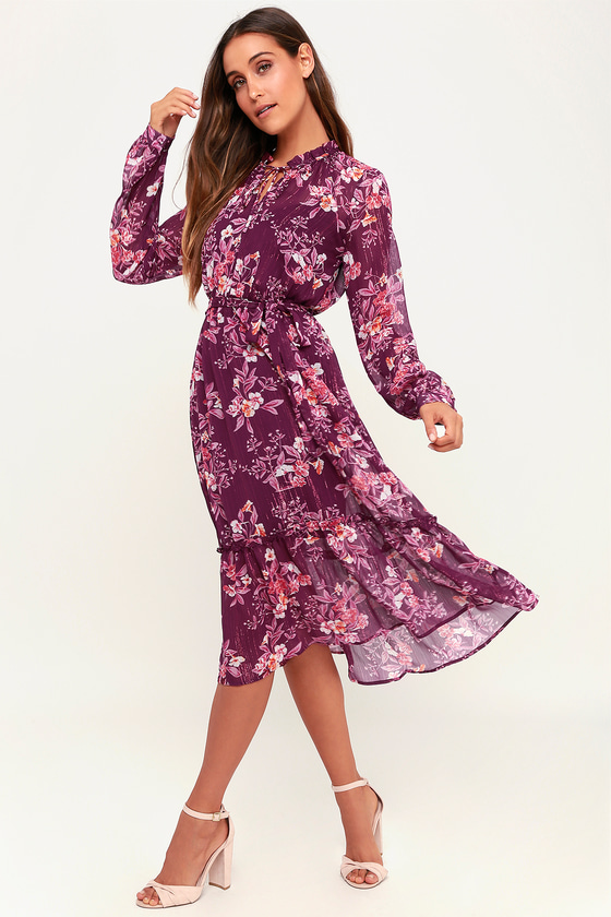 caa451666ed0 Lovely Purple Dress - Floral Print Dress - Midi Dress - Dress