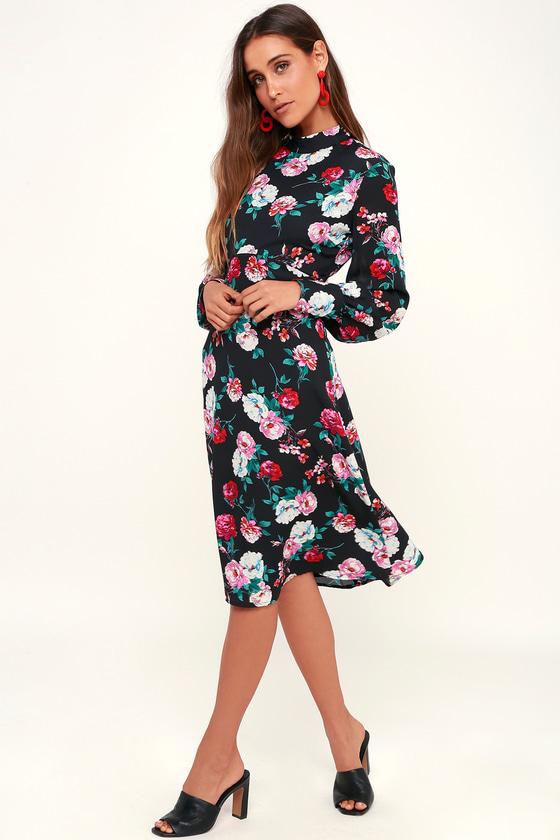 804b8b515a65 Cute Black Floral Print Dress - Midi Dress - Long Sleeve Dress