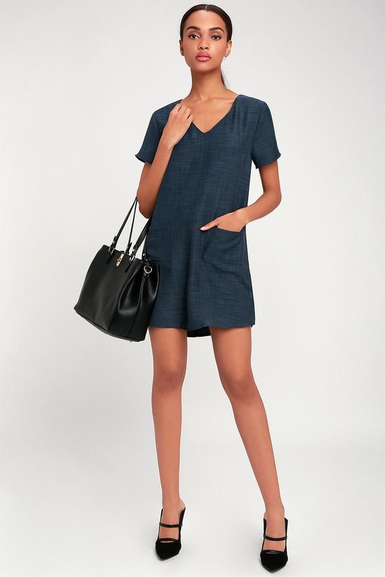 a5afb7b7da5a Cute Navy Blue Dress Shift V Neck. Name Cute Dresses Summer ...