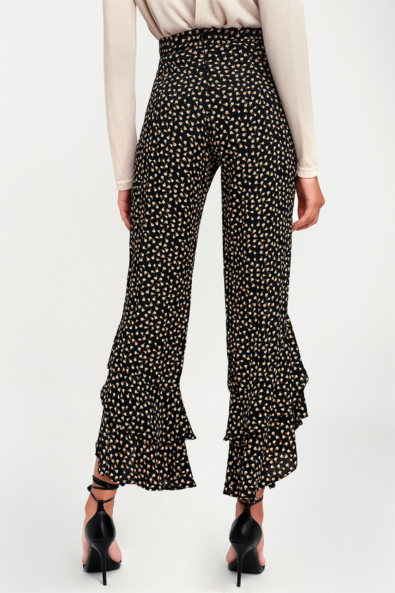 4dd8c98e5b Lucy Love Seville - Black Floral Print Pants - Ruffle Hem Pants