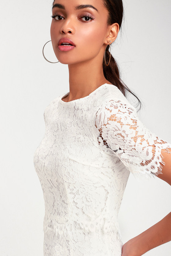 ee80174ac0 Devotion White Lace Short Sleeve Midi Dress