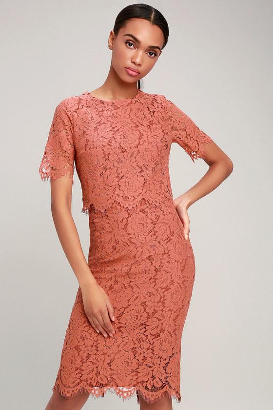 2203f4d70f72 Lovely Lace Dress - Flounce Dress - Rusty Rose Lace - Midi Dress
