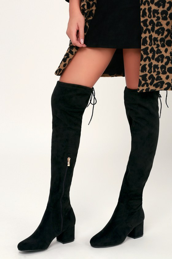 c0a8d5a71756 Chic Black Boots - Vegan Suede Boots - Over-the-Knee Boots