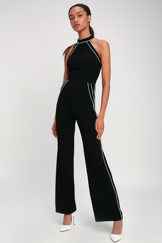 ad9956e8fd Cute Black and White Jumpsuit - Black Jumpsuit - Sleeveless Jumps