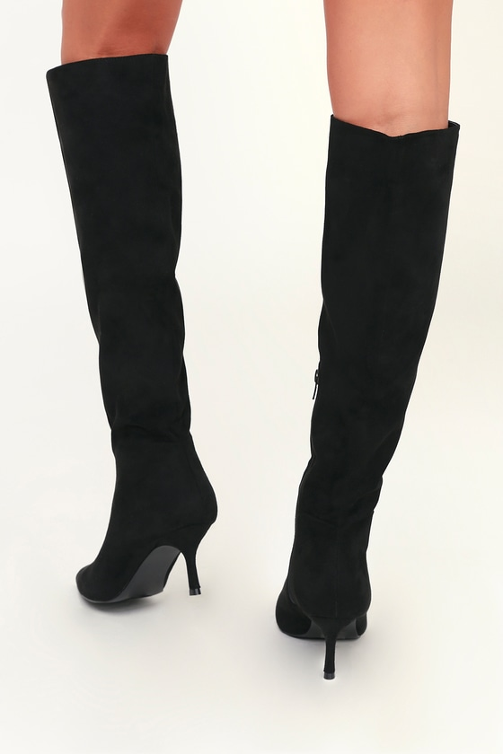 79e8723af8b Chic Black Boots - Vegan Suede Boots - Knee-High Boots - Boots